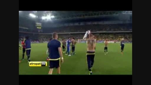 فوتبال ترکیه/تشویق هواداران فنرباغچه بعد از بازی شاختار