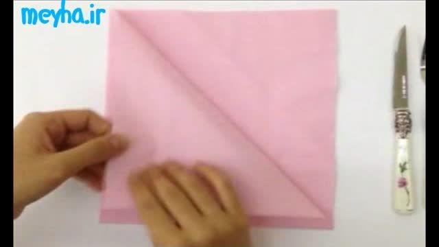 درست کردن جا قاشقی با دستمال کاغذی