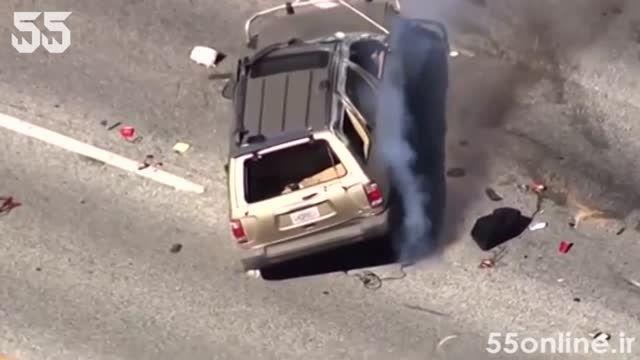 لحظه واژگون شدن SUV در تعقیب و گریز پلیسی
