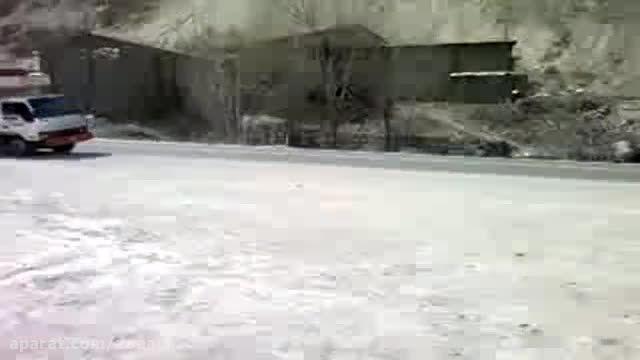 تصادف شاخ به شاخ کامیون به پراید در ایران