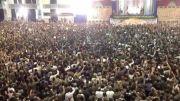 شعار بسیجیان پیش از ورود رهبر انقلاب به شبستان