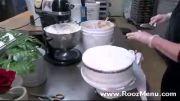 آموزش تزئین کیک در روزمنو  - تزئین کیک سه طبقه