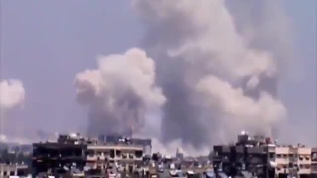حملات راکتی BM-30 اسمرچ ارتش سوریه به جوبر