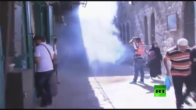 حمله صهونیست ها به فلسطینیان در مسجدالاقصی