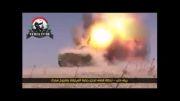 اصابت موشک ضد زره به تانک افراد مسلح در حومه حلب
