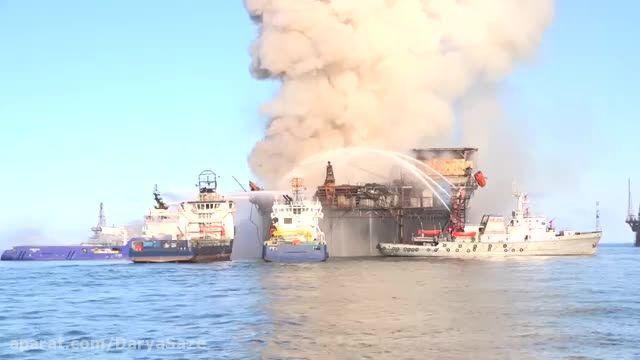 صحنه هایی از خاموش کردن آتش سکوی  Blaze در دریای خزر