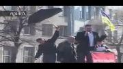 رهبر موافقان دولت اوکراین هدف سنگ وتخم مرغ قرار گرفت:))=))