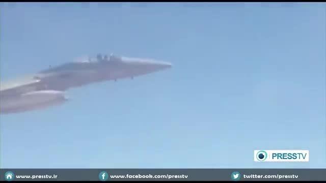 جنگنده عربستان در کنار هواپیمای ایران قبل از بمباران