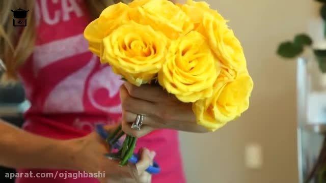 تزیین گل های طبیعی در گلدان
