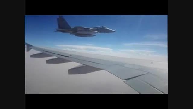 فیلم تهدید هواپیمای ایرانی توسط جنگنده های عربستانی در