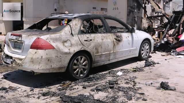 سقوط جت جنگنده Harrier روی منطقه مسکونی در کالیفرنیا