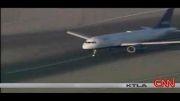 آتش گرفتن لاستیک هواپیما هنگام فرود