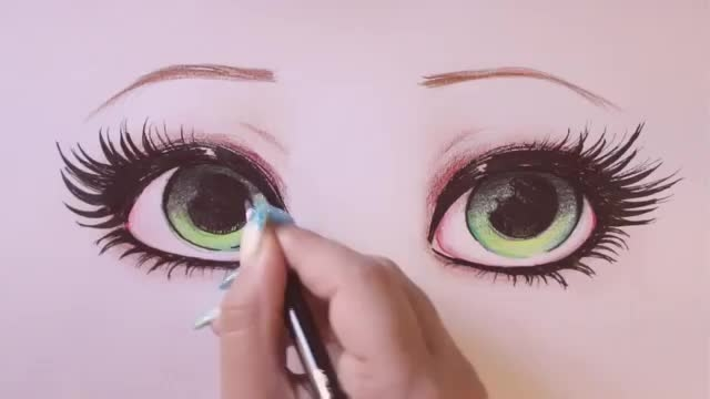 How to draw and color Green Eyes
