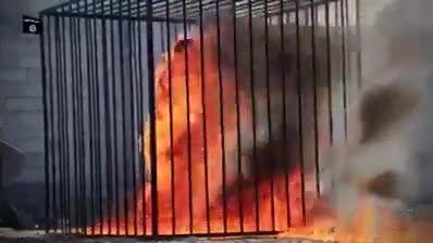 فیلم کامل آتش زدن خلبان اردنی به دست گروه داعش