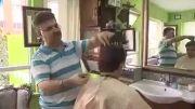 اصلاح موی سر عجیب با تبر و آتش