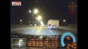 ترکیدن لاستیک جلو GTR در سرعت 327km/h