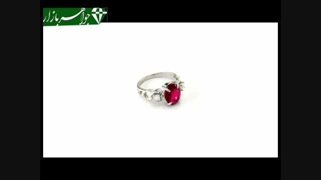 انگشتر نقره نگین سرخ طرح قلب زنانه - کد 6878
