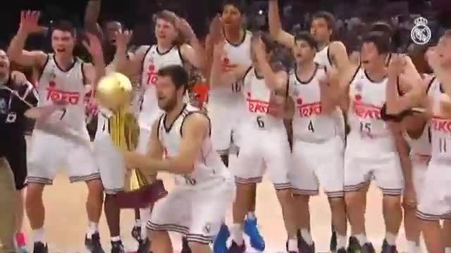 جشن قهرمانی بازیکنان بسکتبال رئال مادرید پس از قهرمانی