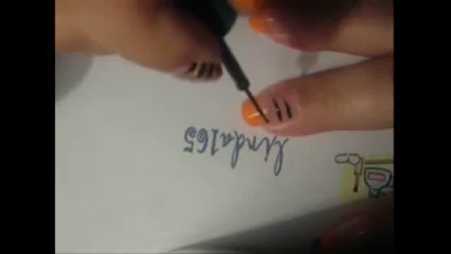 طراحی دیزاین روی ناخن به شکل ببر