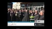 نصب پرچم گنبد مطهر امام حسین (ع) بر فراز گنبد حسینیه اعظم زن