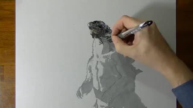 نقاشی 3 بعدی شگفت انگیز از گودزیلا