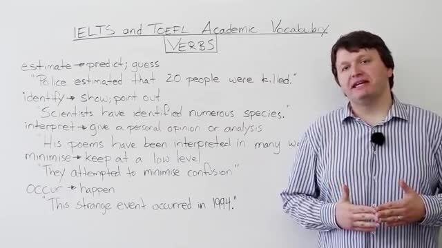 IELTS and TOEFL Academic Vocabulary - Verbs