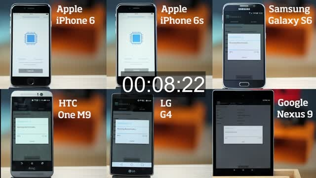 Iphone 6s vs GS6 vs LGG4 vs One M9 vs Nexus 9_Benchmark