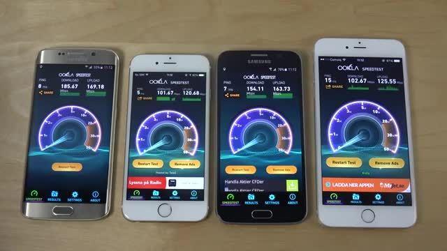 مقایسه سرعت وای فای گلکسی اس 6 و آیفون 6