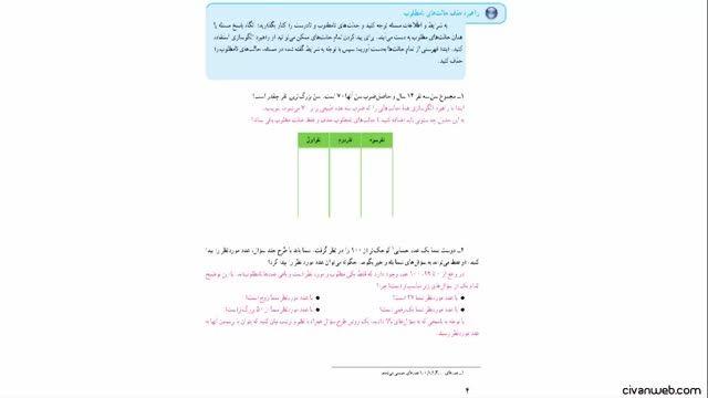 حل تمرین 1 صفحه 4 کتاب ریاضی پایه هغتم