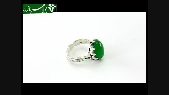 انگشتر عقیق سبز خوش رنگ برجسته - کد 6903