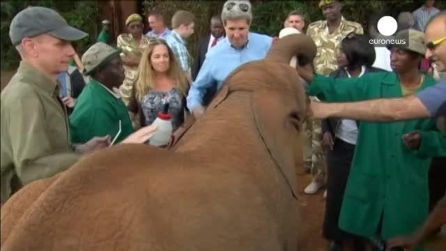 سلفی جان کری وزیر امورخارجه آمریکا با بچه فیل در کنیا