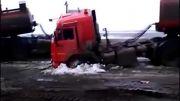 بکسل کردن تریلی روسی با کامیون دیگر