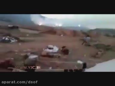 لحظه موشک باران مواضع تروریست ها توسط مقاومت