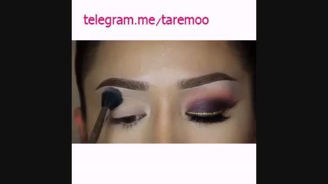 ارایش چشم با سایه و خط چشم طلایی زیبا در تارمو