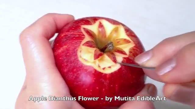 آموزش میوه آرایی سیب به شکل گل