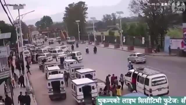 لحظه رخداد زمین لرزه نپال