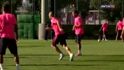 تمرینات بازیکنان بارسلونا پس از بازگشت از آمستردام