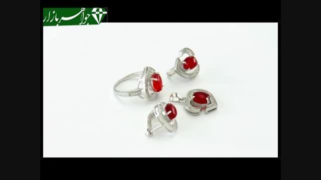 سرویس عقیق یمنی سرخ خوش رنگ طرح قلب زنانه لوکس - کد 688