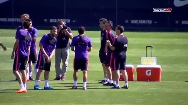 آخرین تمرین بارسلونا پیش از دیدار برابر رئال سوسیداد