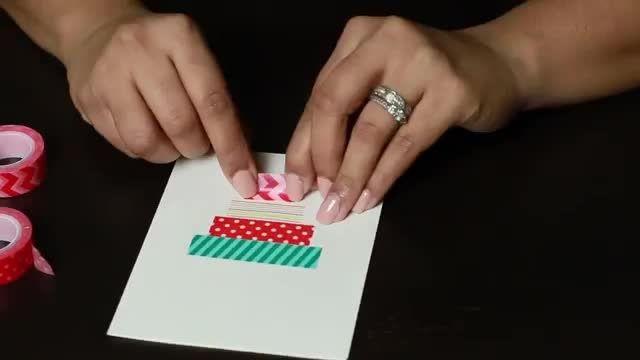 درست کردن کارت تبریک تولد با نوار چسب طرح دار