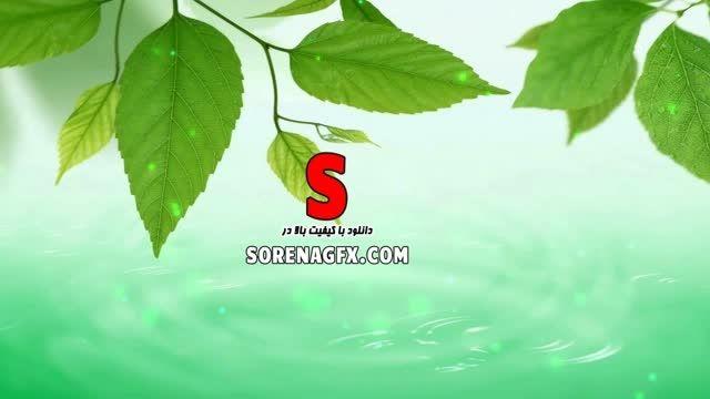 دانلود فوتیج انیمیشن برگ سبز و چكیدن قطرات شبنم