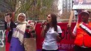 گردهمایی در استرالیا و بیانیه خوانی یک دختر در انتقاد از دولت استرالیا و حمایت از مردم  ارتش و دولت و بشار اسد