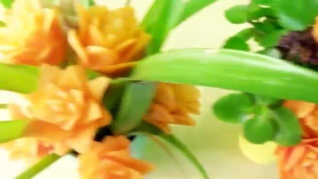آموزش میوه آرایی هویج به شکل گل رز