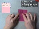 اوریگامی قلب به شکل یک حلقه برای ولنتاین