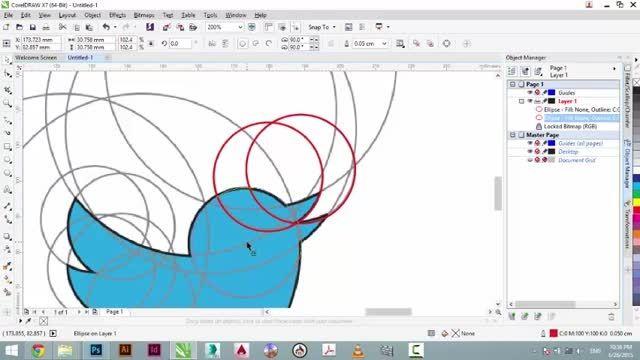 بازسازی لوگو توییتر در کورل دراو توسط شکفته احمدی