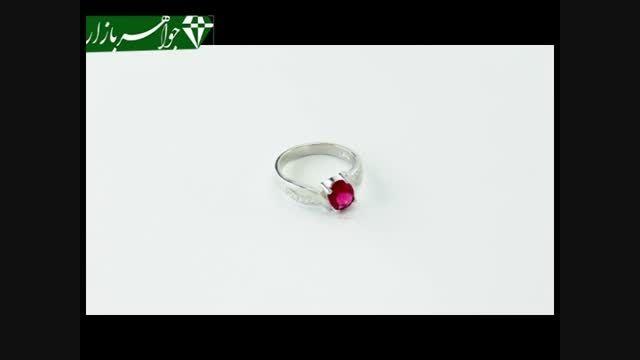 انگشتر نقره نگین سرخ طرح چکاوک زنانه - کد 6981