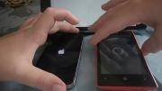 تست سرعت گوشی apple iphone 4 با nokia lumia 520