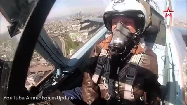رزمایش نیرو هوایی روسیه بر فراز آسمان مسکو