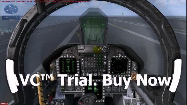 تیک آف هواپیمای نظامی از روی ناو در شبیه ساز پرواز