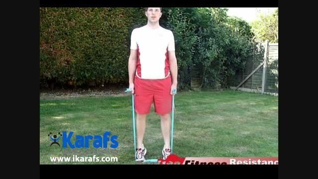 حرکت پشت پا، بلند کردن ساق پا با کش بدنسازی